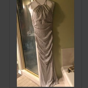 Stunning Silver Tight Fitting Gown